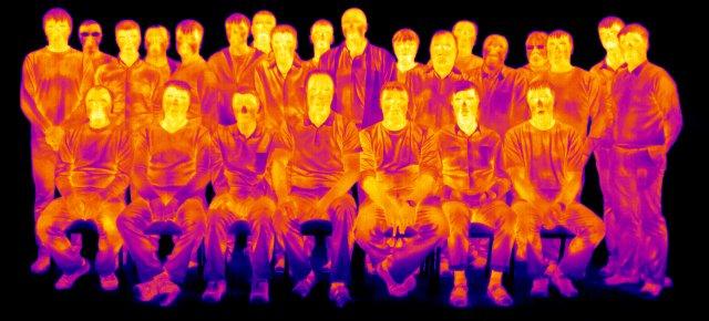Инфракрасное излучение участников курса ITC (радиометрический файл FLIR P640)